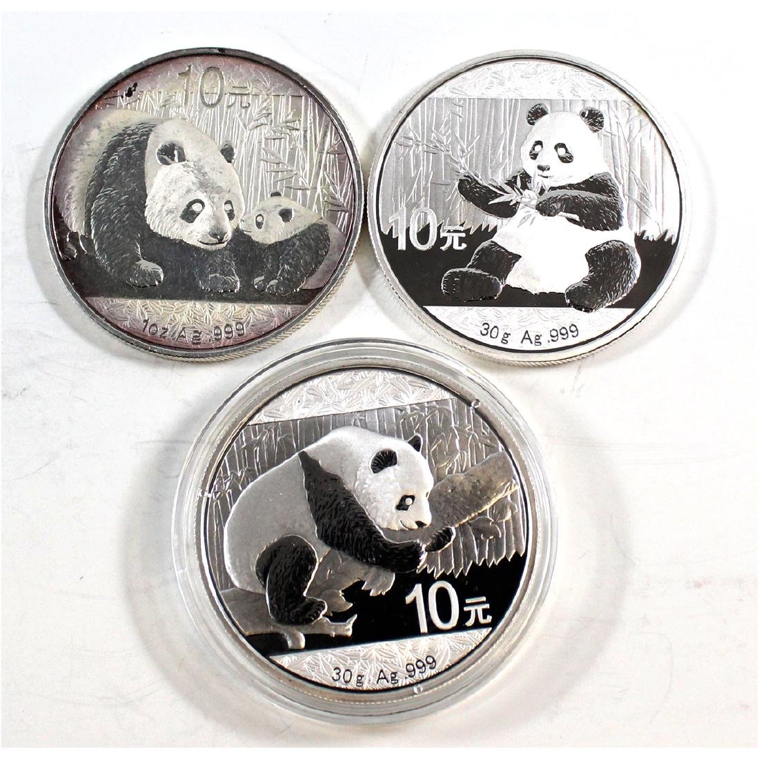 Lot of 3x China Panda .999 Fine Silver Coins - 2011