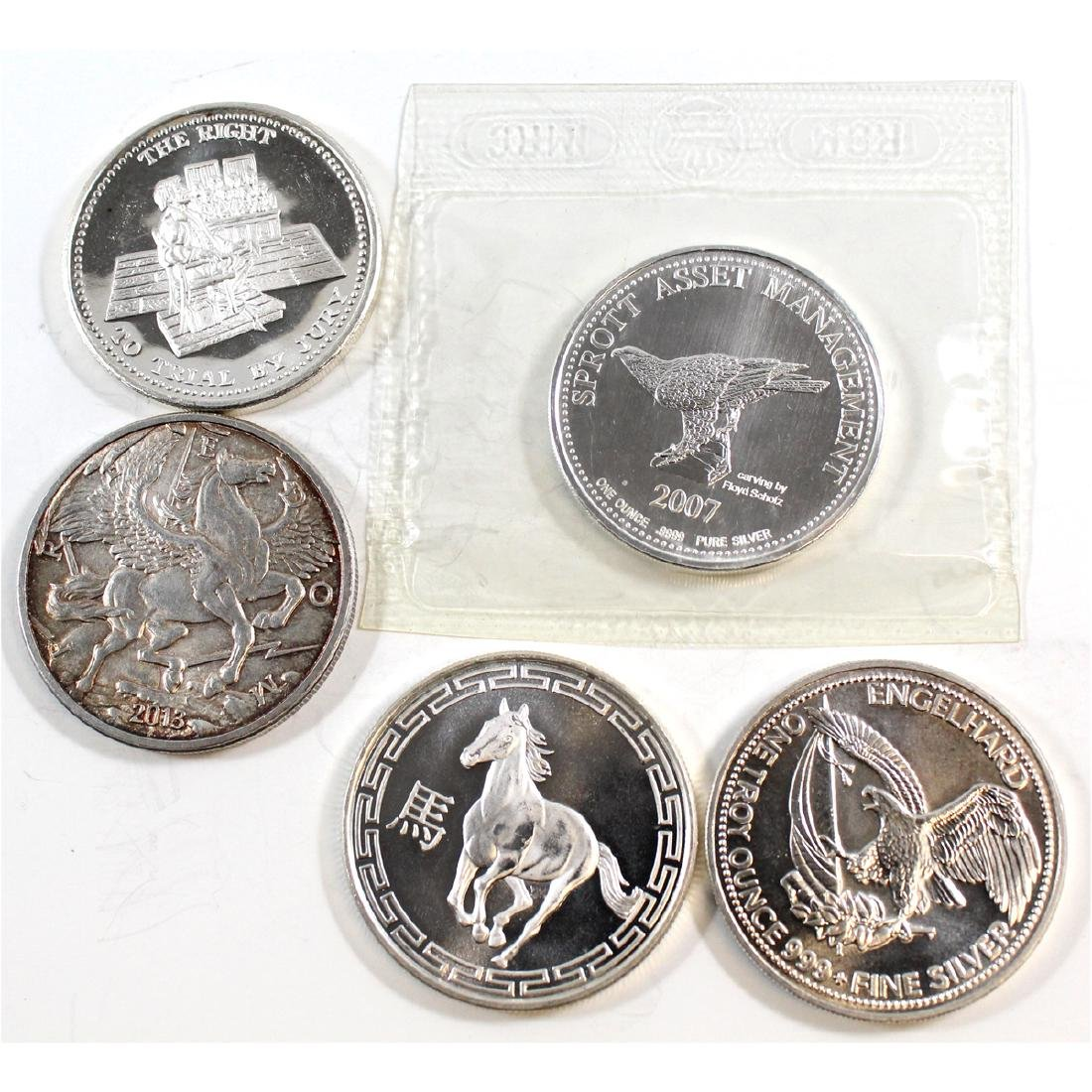 5x Miscellaneous 1oz .999 Fine Silver Rounds (TAX