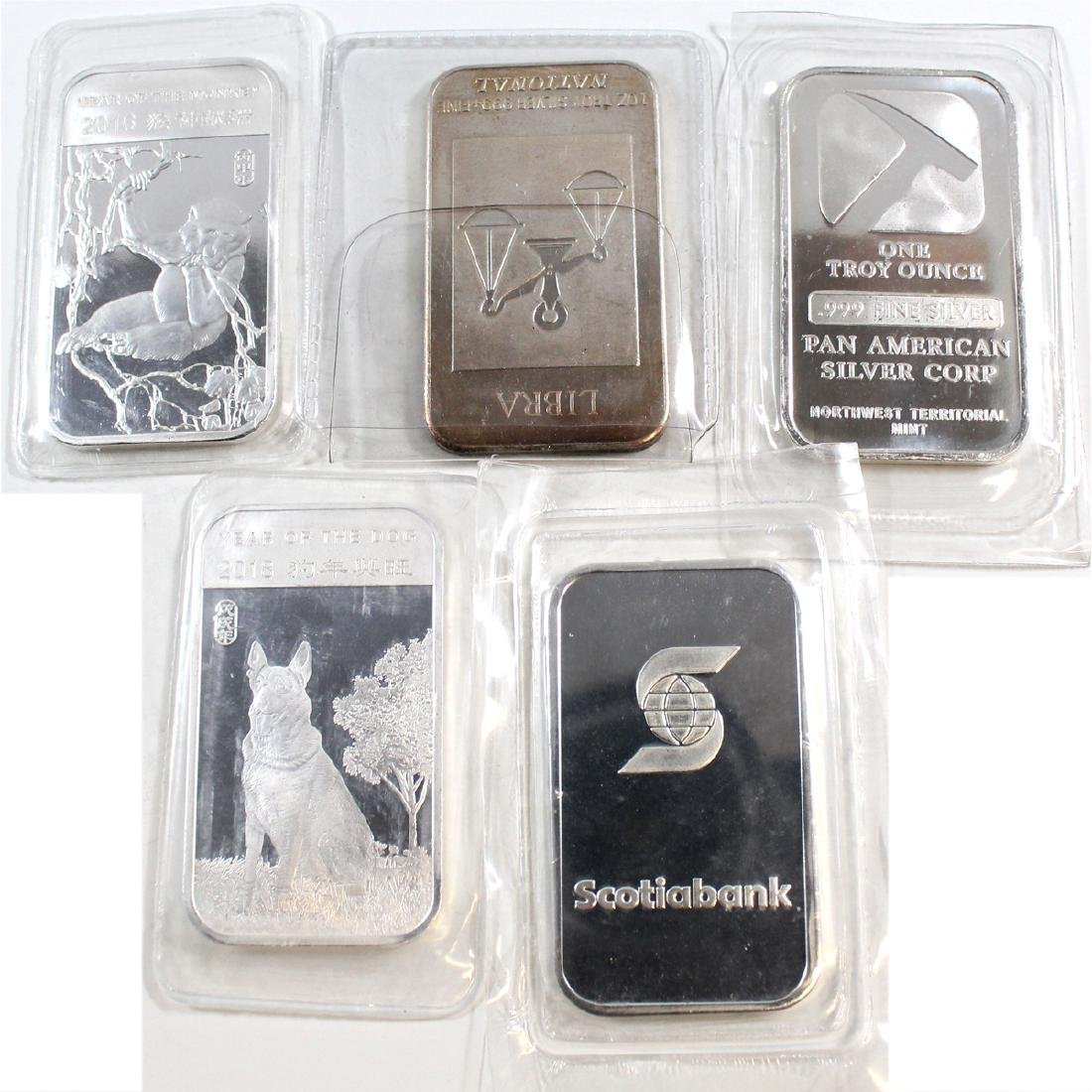 5x Miscellaneous 1oz .999 Fine Silver Bars (TAX