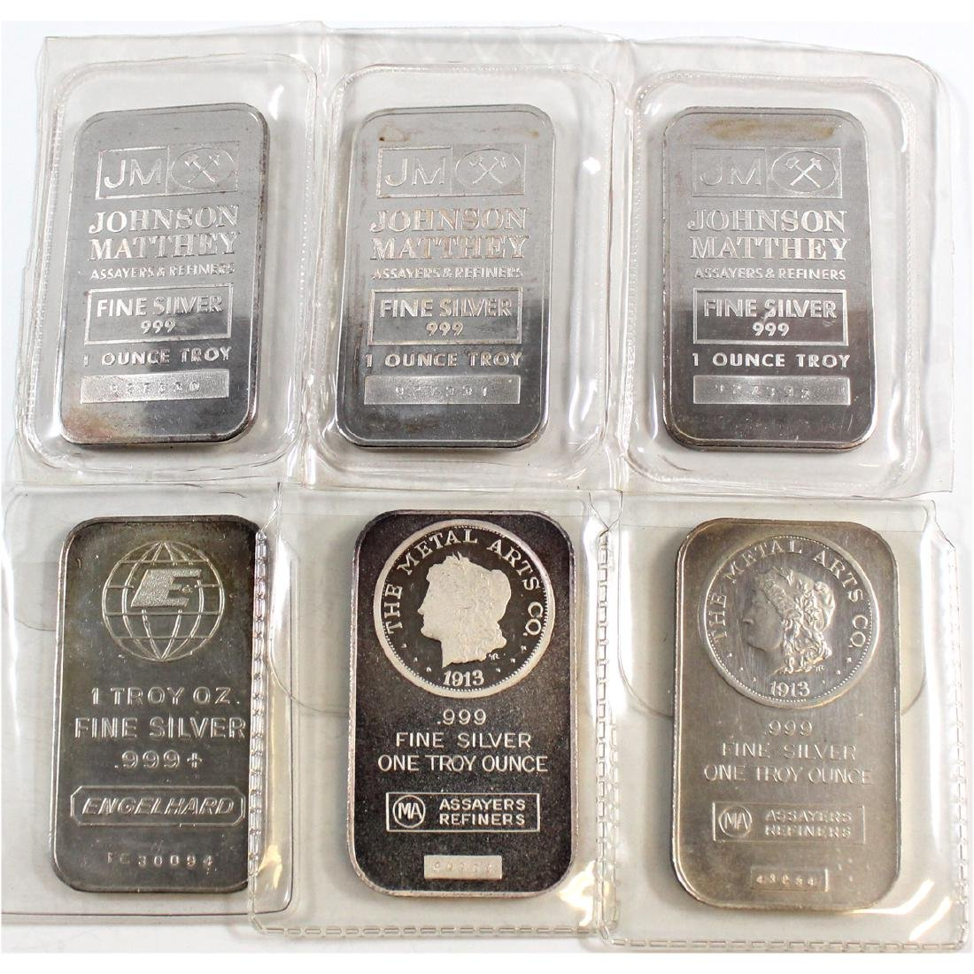 6x 1oz .999 Fine Silver Bars (TAX Exempt). Lot Includes