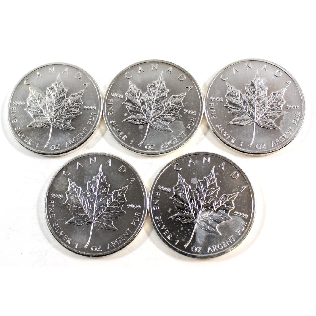 5x 2011 Canada 1oz Silver Maple Leaf Coins (Tax Exempt)