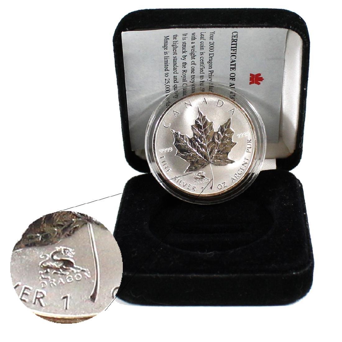 2000 Dragon Privy Mark 1oz. $5 Silver Maple Leaf (TAX