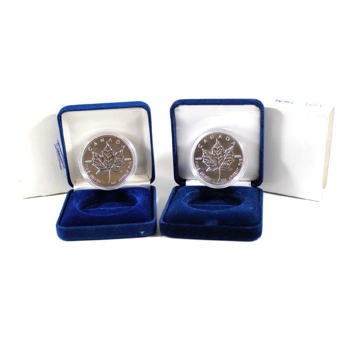 1994 & 1999 Canada 1ox Silver Maple Leafs with Display