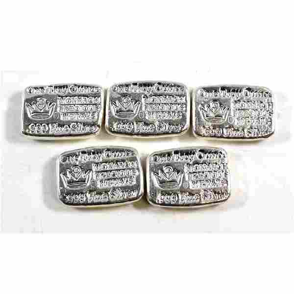 5x Hand Poured Monarch Precious Metals 1 oz .999 Fine