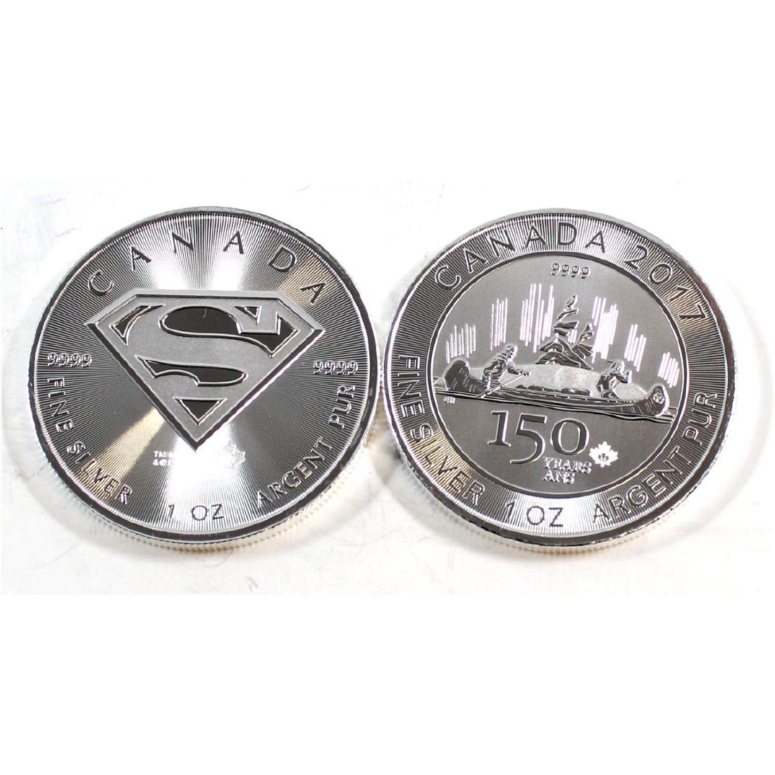 2016 Canada Superman's Shield & 2017 Canada 1 oz -