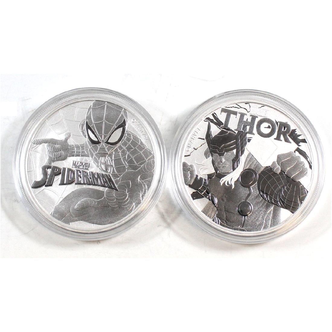 Pair of Tuvalu $1 Marvel Series 1oz. .999 Fine Silver