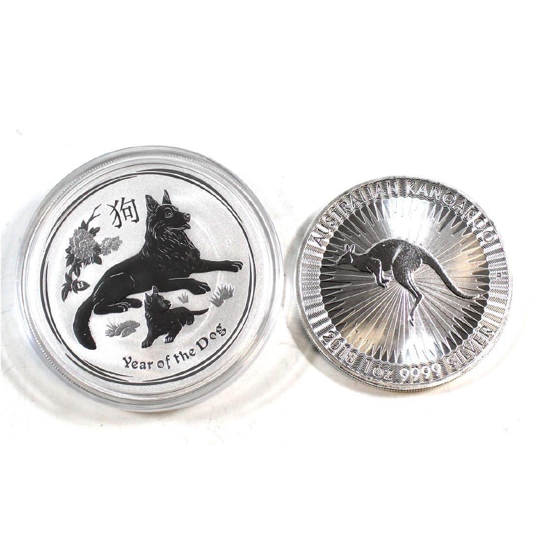 Pair of 2018 Australia $1 1oz. .999 Fine Silver Coins -
