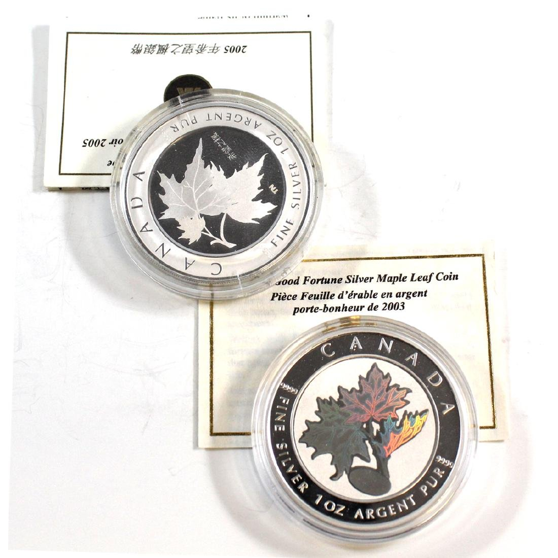 2003 Canada $5 Good Fortune Hologram & 2005 Silver