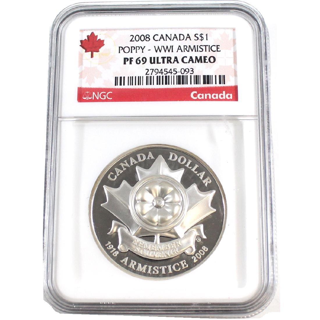 2008 Canada $1 Poppy WWI Armistice NGC Certified PF-69