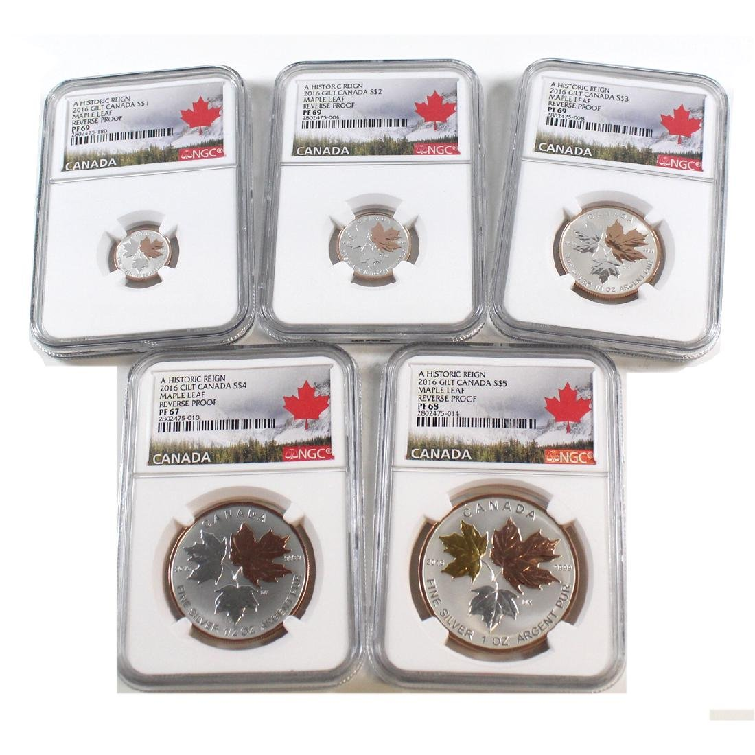 2016 A Historic Reign Maple Leaf Fractional 5-coin set