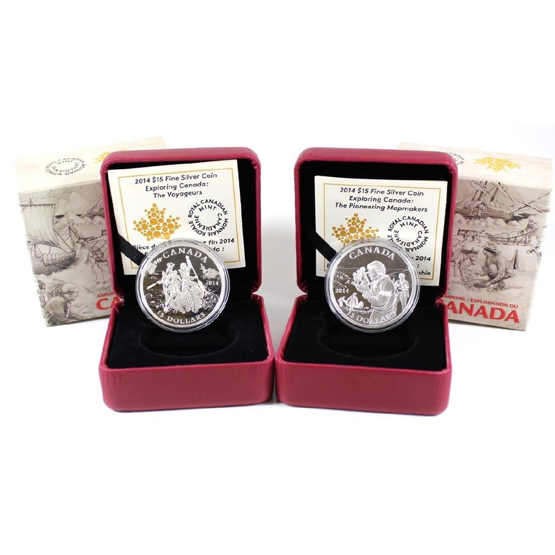 Pair of 2014 Canada $15 Exploring Canada Fine Silver