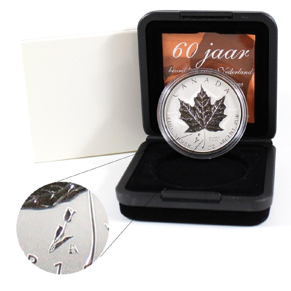 2005 Canada $5 1oz. .999 Silver Maple Leaf with Tulip