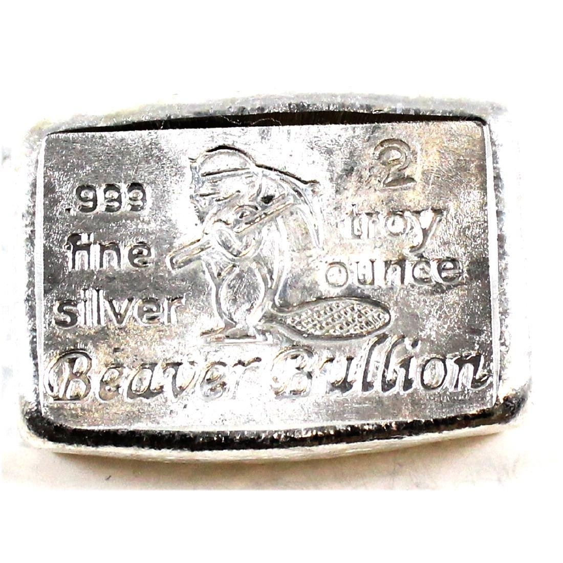 Beaver Bullion 2oz Fine Silver Bar (TAX Exempt).