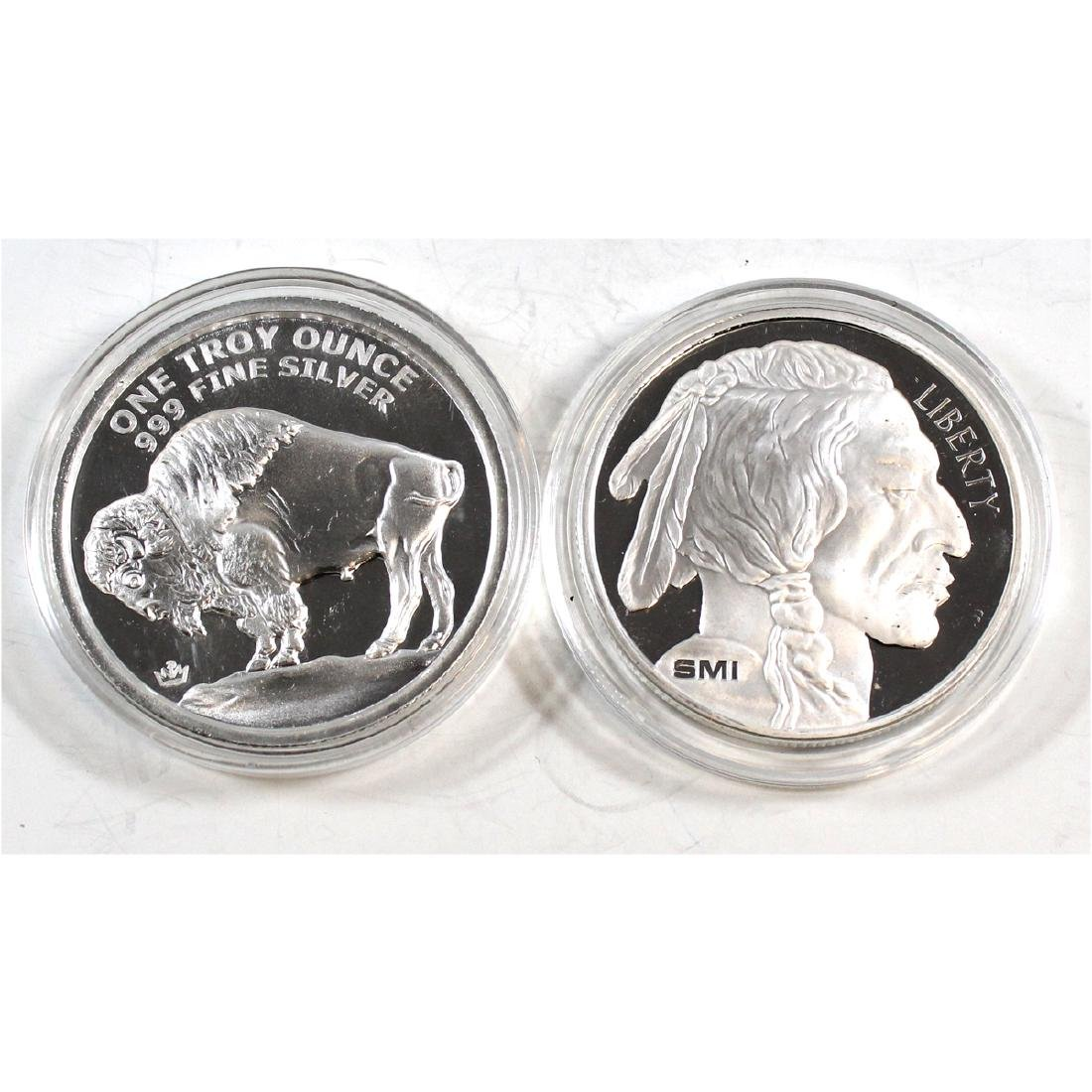 Pair of Buffalo/Indian Head 1oz Fine Silver Rounds (TAX