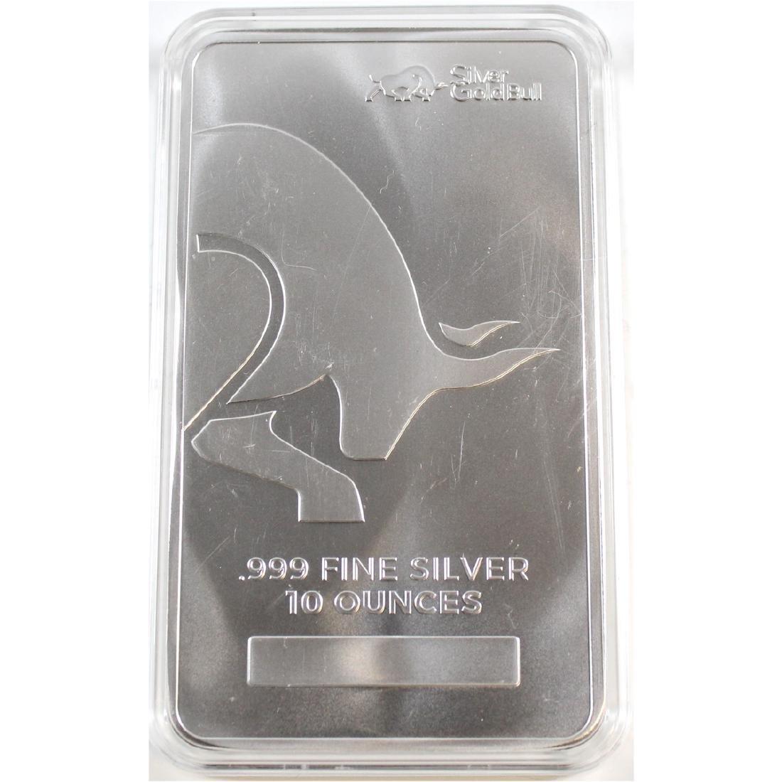 Silver Gold Bull 10oz Fine Silver Bar Encapsulated (TAX