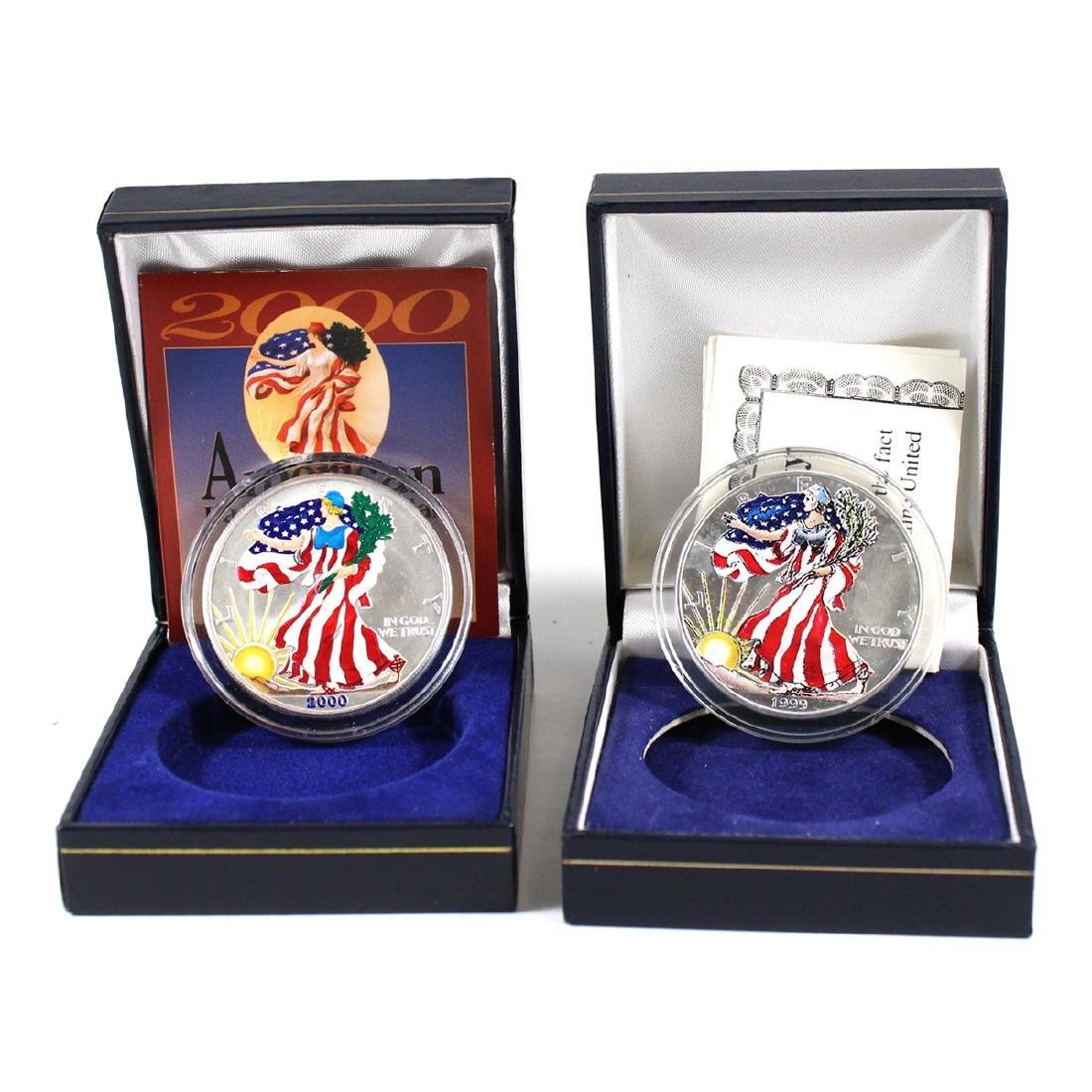 1999 & 2000 US American Eagle 1oz Fine Silver Coins in