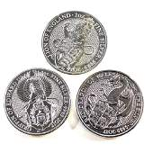 Lot of 3x Great Britain 5 Pound Queen's Beasts 2oz Fine