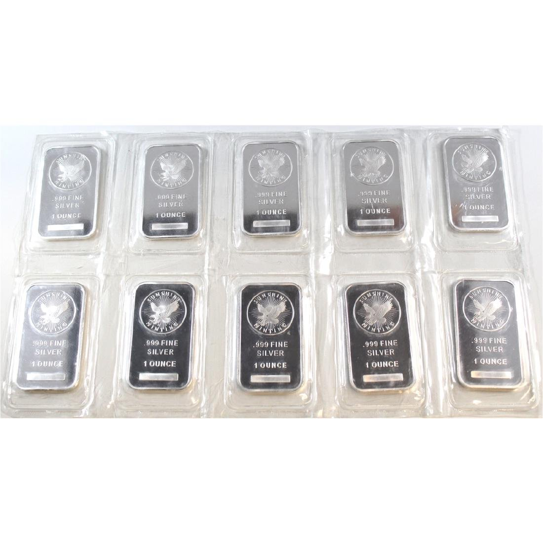 Lot of 10x Sunshine 1oz .999 Fine Silver Bars Sealed in
