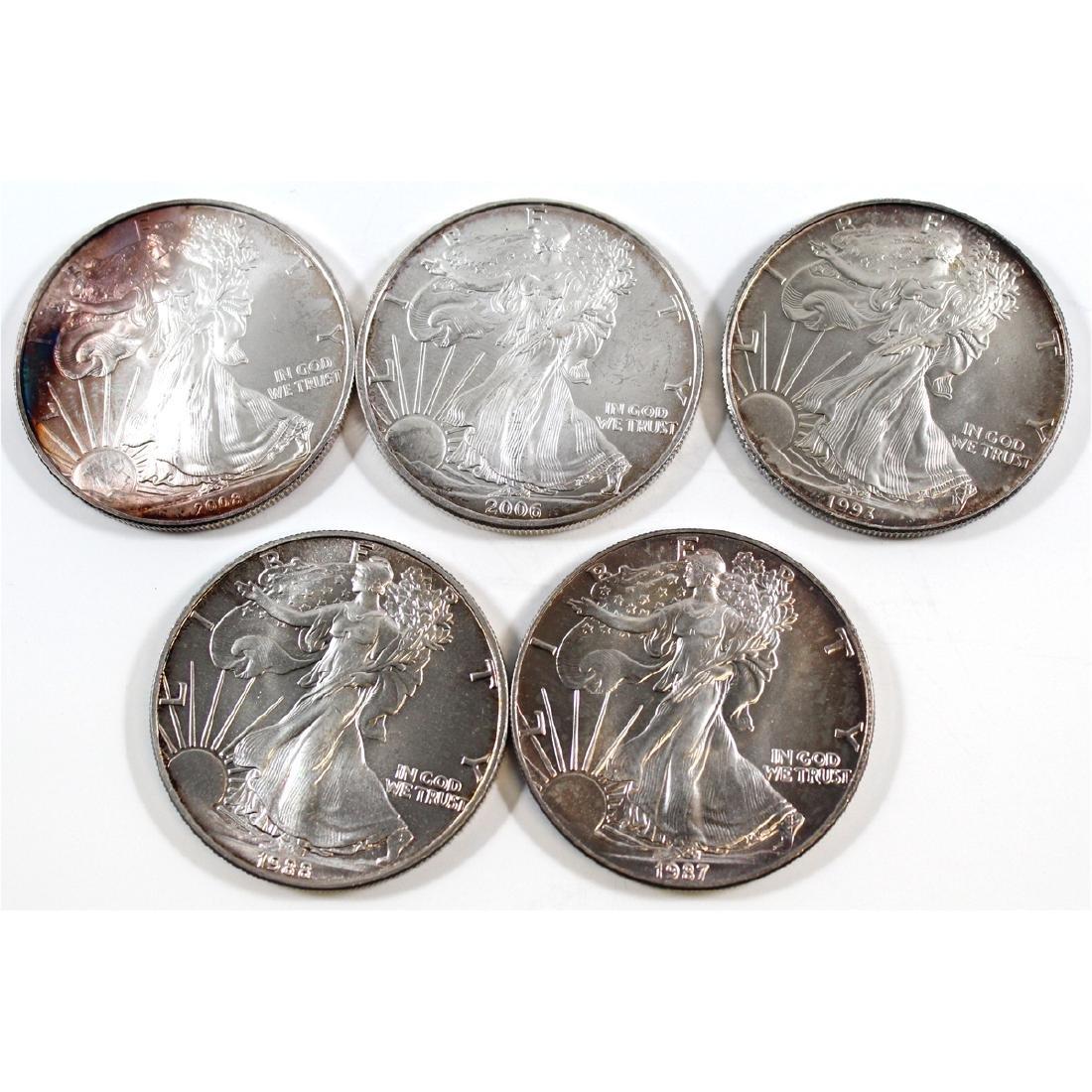 1987, 1988, 1993, 2006 & 2008 American Eagle 1oz .999