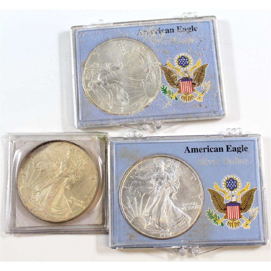 Lot of 3x 1997 American Eagle 1oz .999 Fine Silver
