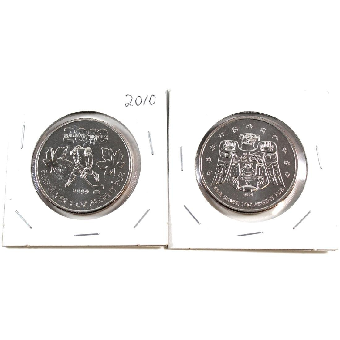 2009 $5 Canada Olympic Raven & 2010 $5 Hockey 1oz .9999