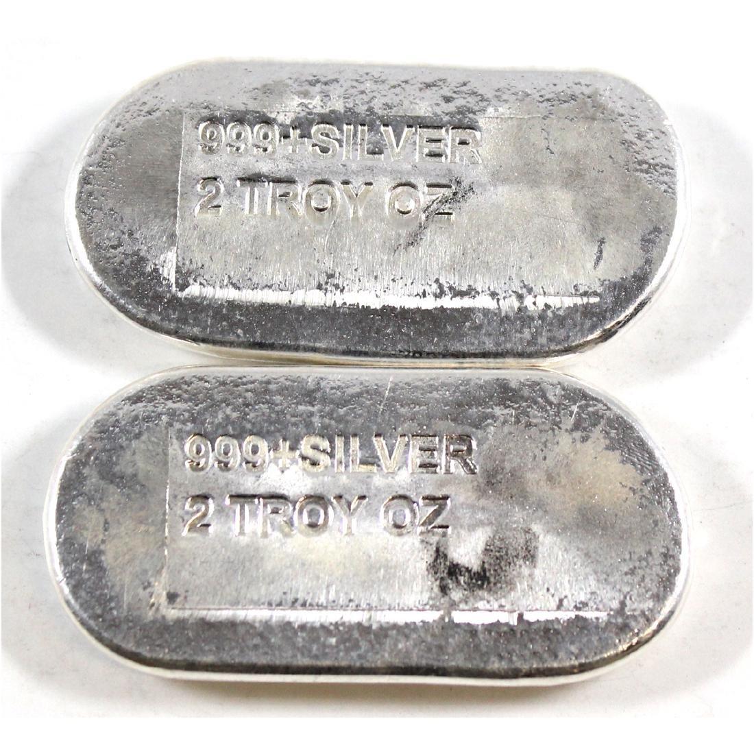 2x Engelhard Australia 2oz .999 Fine Silver Hand Poured - 2