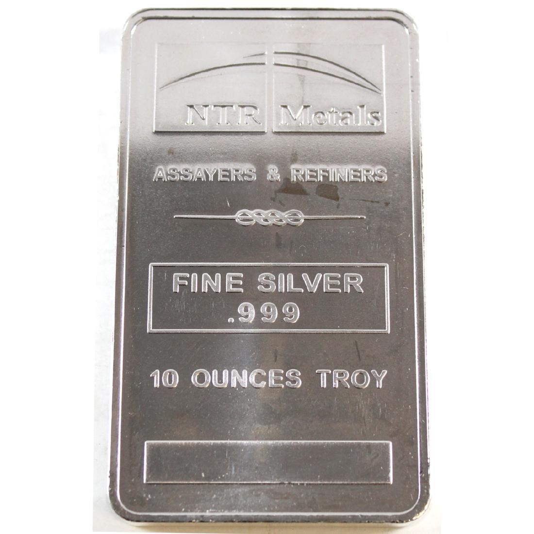 NTR Metals 10oz .999 Fine Silver Bar (TAX Exempt)