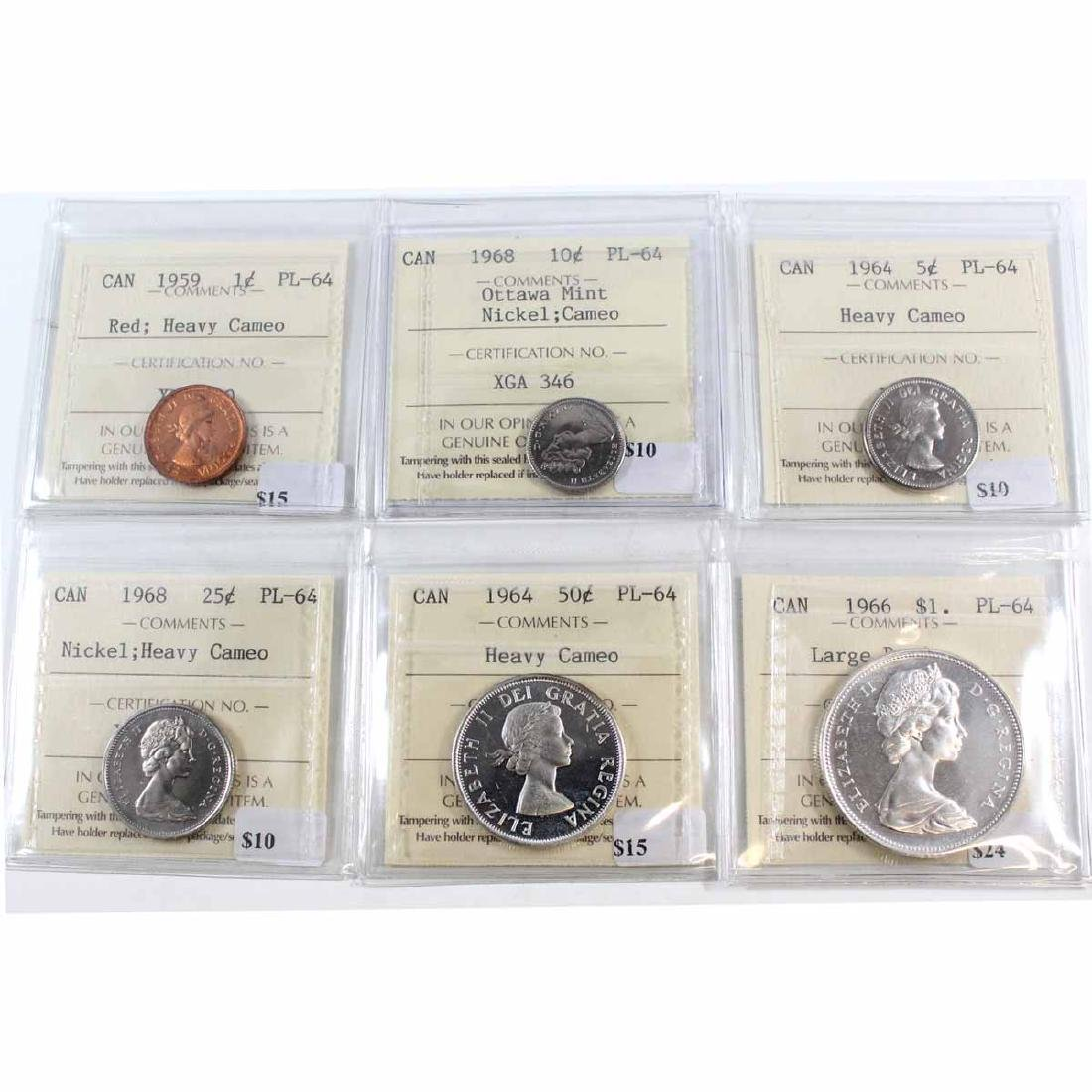 Lot of 6x Canada ICCS Certified PL-64 Coins. You will