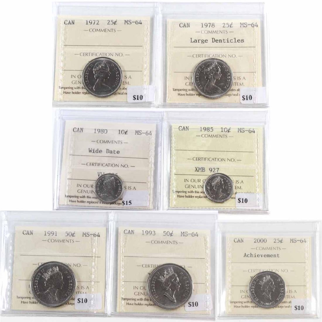 Lot of 7x Canada ICCS Certified MS-64 Coins. You will