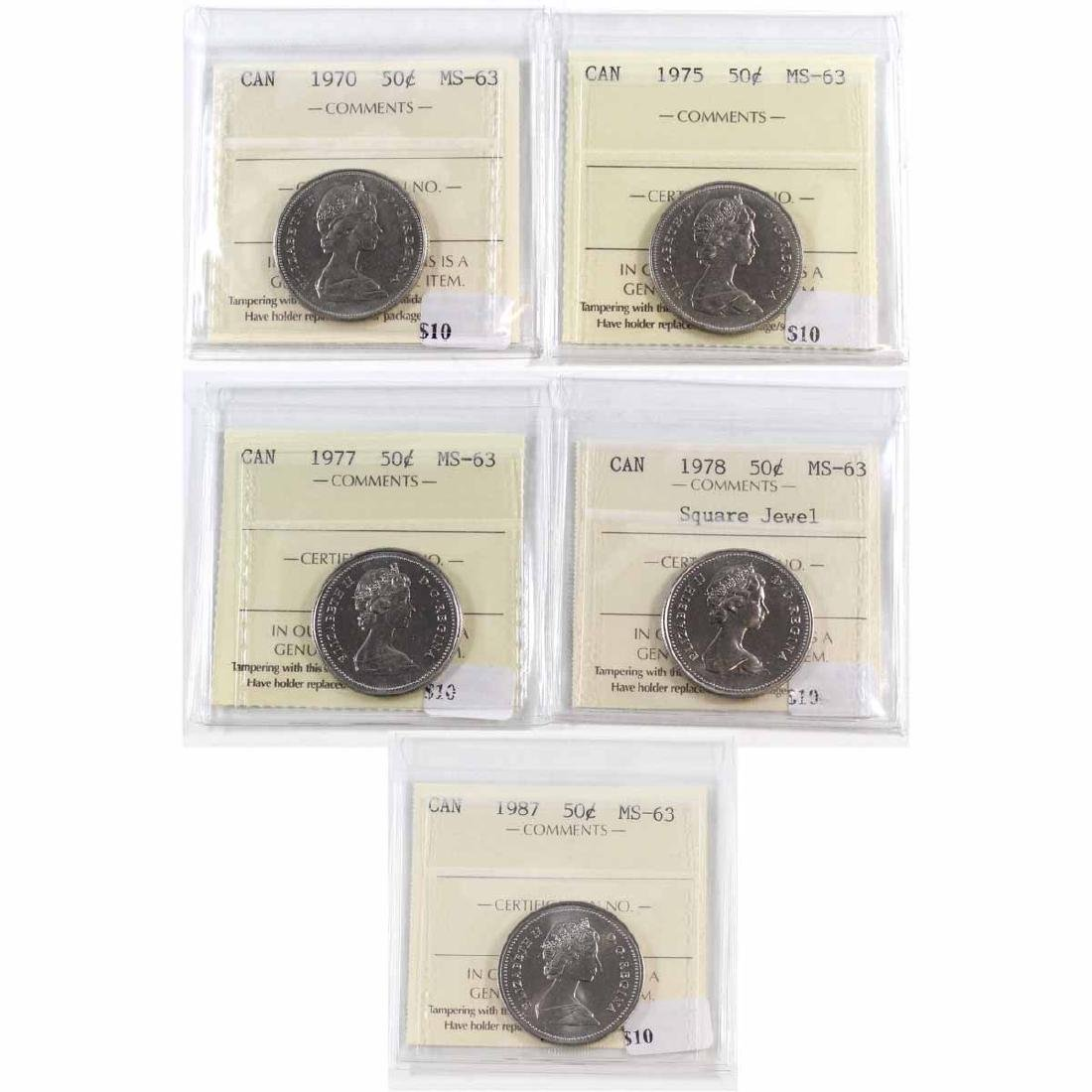 Lot of 5x Canada 50-cent ICCS Certified MS-63 - 1970,
