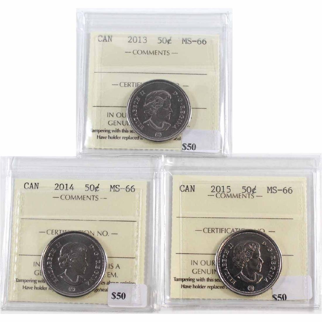 2013, 2014 & 2015 Canada 50-cent ICCS Certified MS-66.