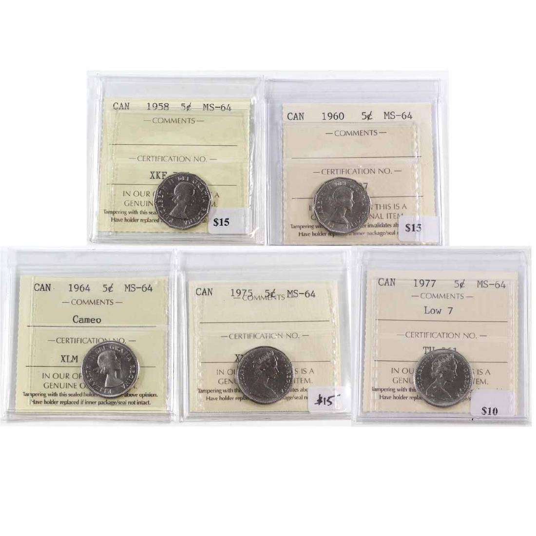 Lot of 5x Canada 5-cent ICCS Certified MS-64 - 1958,