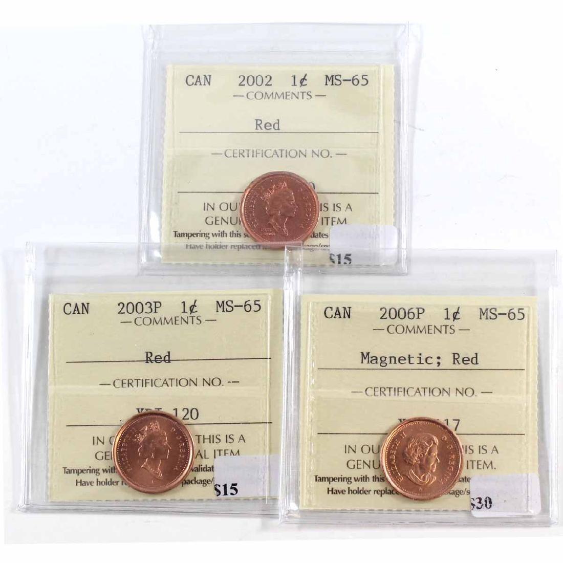 2002, 2003P & 2006P Magnetic Canada 1-cent ICCS