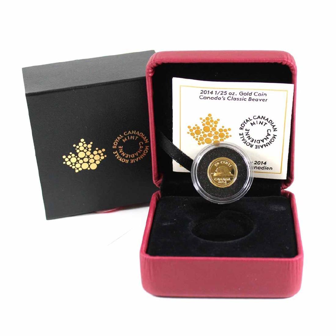 2014 50-cent Canada's Classic Beaver 1/25oz Pure Gold