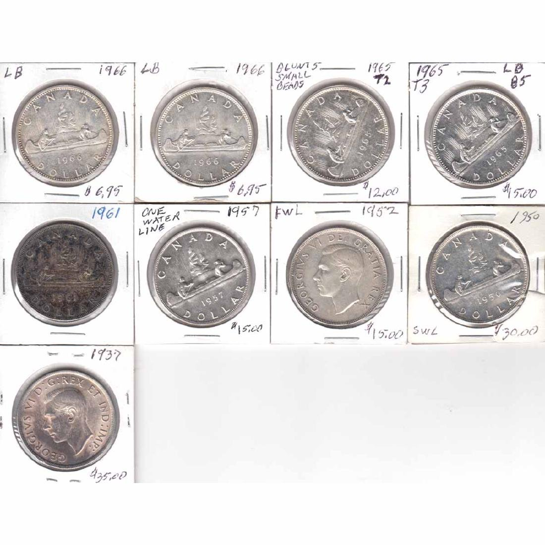 Estate Lot of 9x Canada Silver $1 Dated 1937, 1950 SWL,