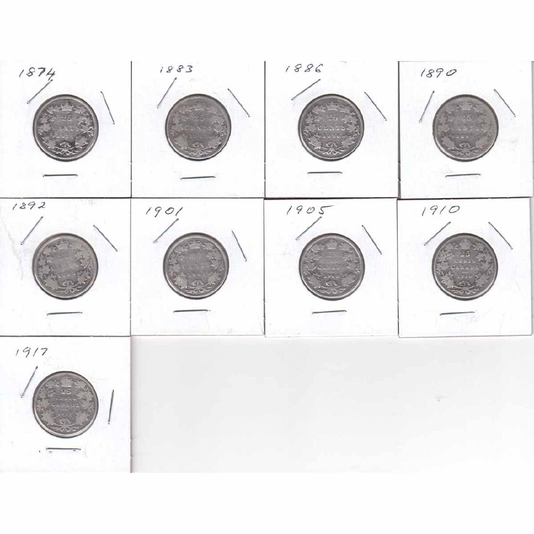 Estate Lot of 9x Canada 25-cent Dated 1874, 1883, 1886,
