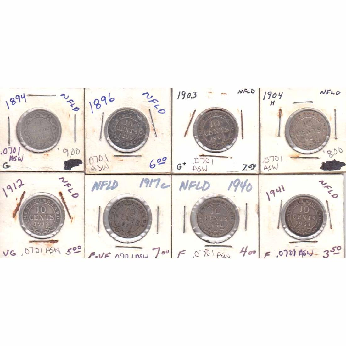 Estate Lot of 8x Newfoundland 10-cent 1894, 1896, 1903,