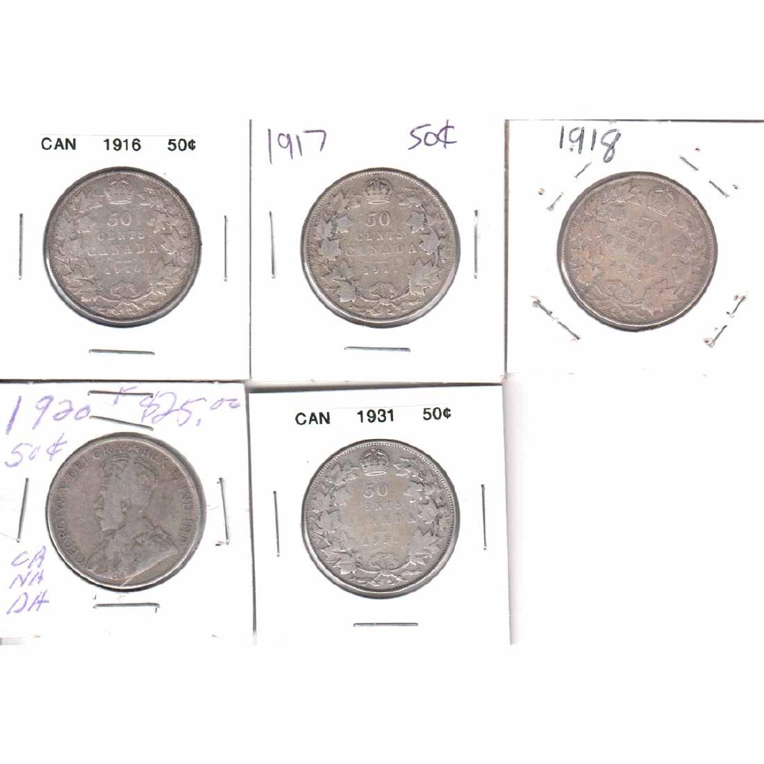 Estate Lot of 5x Canada 50-cent Dated 1916, 1917, 1918,