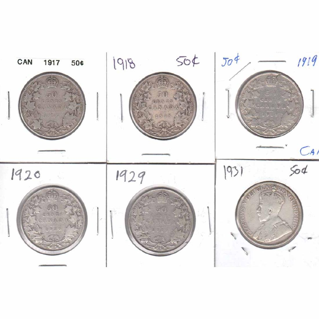 Estate Lot of 6x Canada 50-cent  1917-1920, 1929 &
