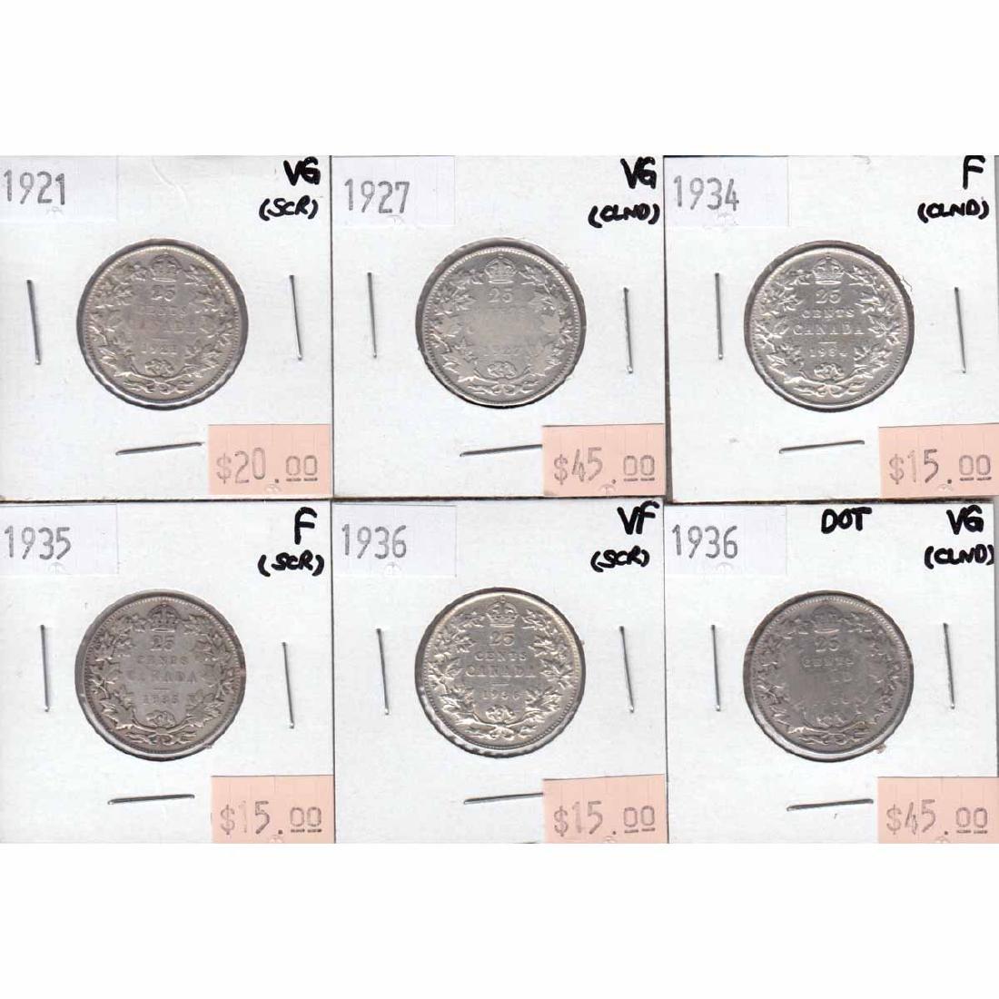 Canada 25-cent  1921, 1927, 1934, 1935, 1936 & 1936 Dot