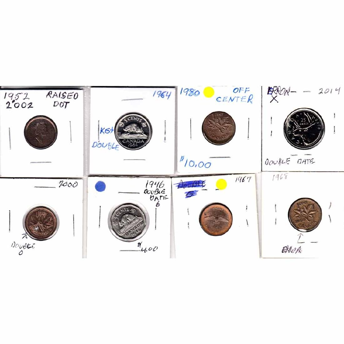 Estate Lot of 8x Canada 1-cent, 5-cent & 25-cent with