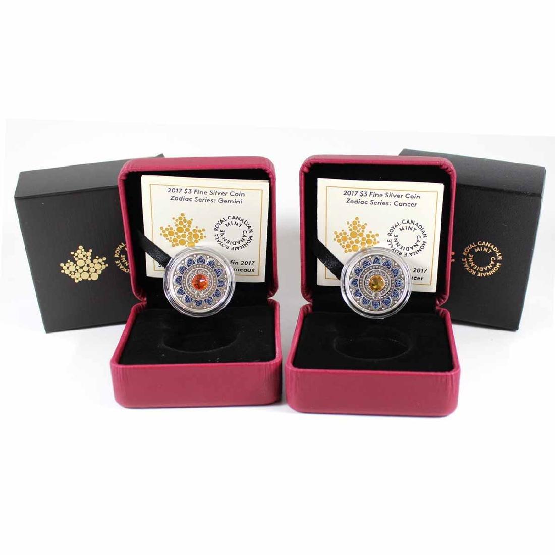 2017 Canada $3 Cancer & Gemini Zodiac Fine Silver Coins