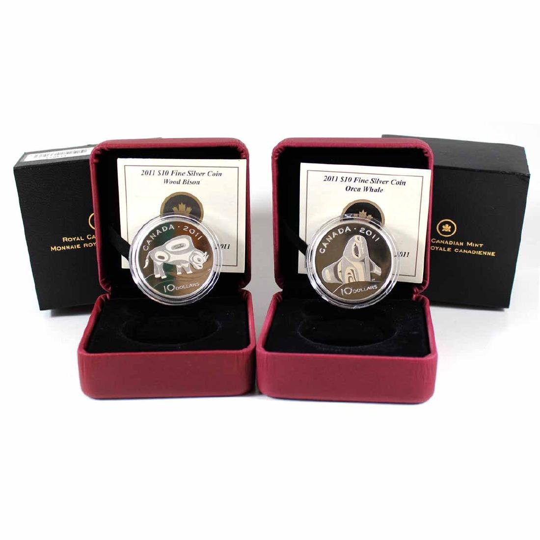 2011 Canada $10 Orca & Wood Bison Fine Silver Coins