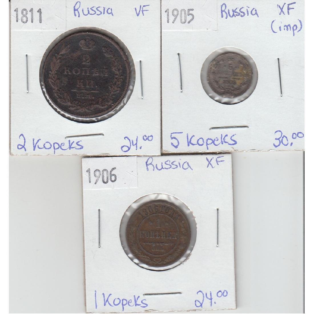 Lot of 3x Russian Coinage Dated 1811-1906 in VF or EF.