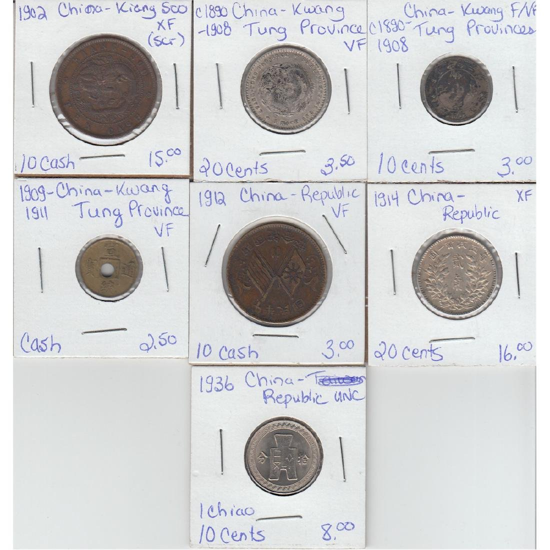 Lot of 7x Chinese Coinage Dated 1902-1936 in F-VF to