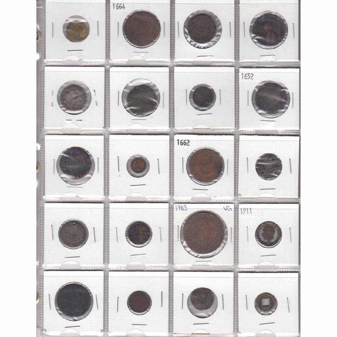 Mixed Page of 20x Old Mostly Copper Coinage from