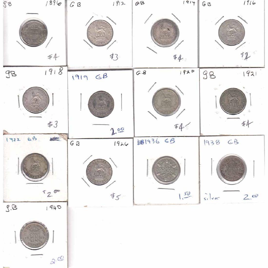 Estate Lot of 13x Great Britain 6 Pence Dated