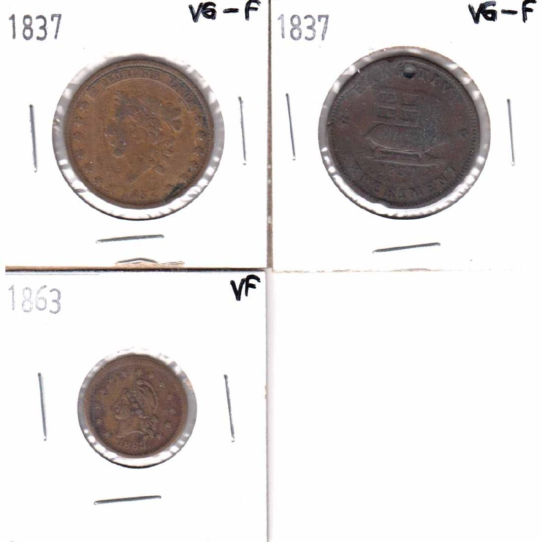 Lot of 3x USA Tokens. You will receive 1837 Mint Drop