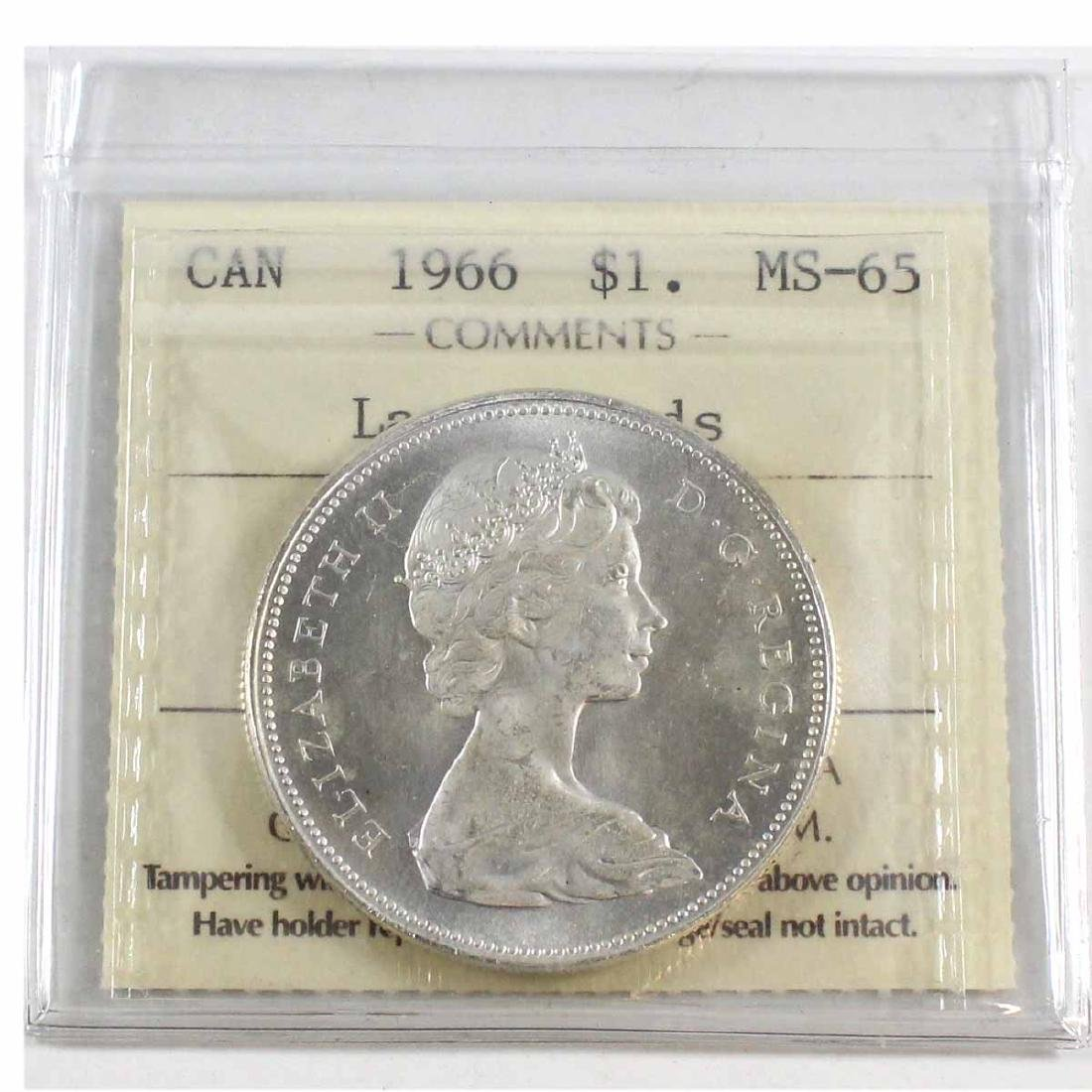 1966 Canada Silver $1 Large Beads ICCS Certified MS-65.