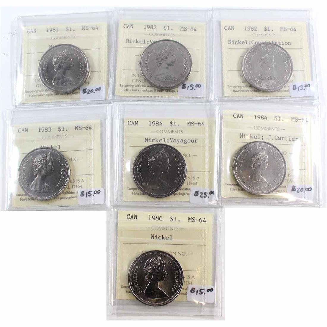 Lot of 7x Canada ICCS Certified MS-64 Nickel $1 Dated